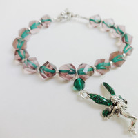 Fairy Charm, Charm Bracelet, Green Fairy, Winged Creatures, Fantasy Creatures, Whimsical Jewelry