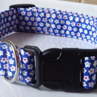 Blue & White Floral  Girl Dog and Cat Collar