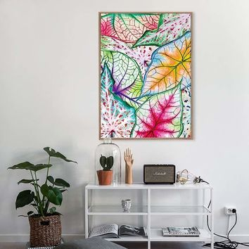SURE LIFE Watercolor Colorful Leaf Poster Canvas Printings Pop Wall Art Paintings Pictures for Kids Bedroom Home Decorations