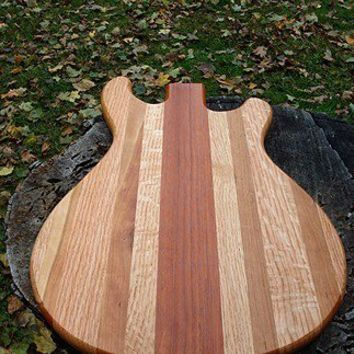 Handmade Wood Rockin Guitar Cutting Board - PRS Style - Massachusetts Cherry & Brazilian Goncalo Alves
