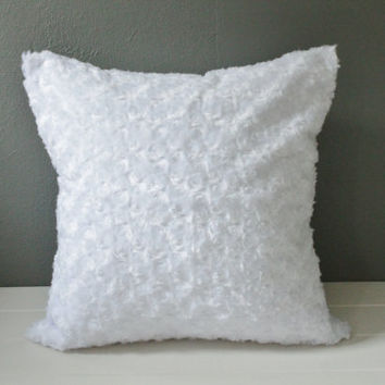 White Faux Fur Pillow Cover: Modern Holiday Home Decor, Swirl Fur Throw Pillow, Gender Neutral Nursery Decor, Luxe White Bedding, 18 x 18 in