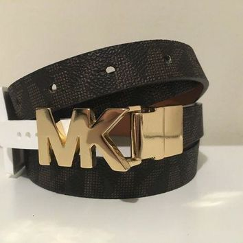 CREYWA2 MICHAEL KORS WOMEN'S BROWN SIGNATURE MK LOGO GOLD BUCKLE LEATHER BELT SIZE XL