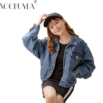 294c4b56055 Voobuyla Autumn Denim Jacket For Women Jean Coat Streetwear Femm