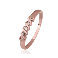 Crystal Twisted Bezel Set Eternity 18K Rose Gold Plated Ring