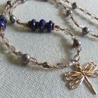 Lapis Lazuli, Freshwater Pearl, and Rose Gold Dragonfly Necklace
