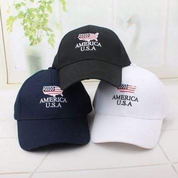 Summer America Usa Embroidered Cotton Baseball Cap Hats