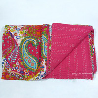 Queen Size Indian Pink Ikat Kantha Quilt Throw Blanket