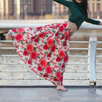 Floral linen womens skirt E57362267 by xiaolizi on Etsy