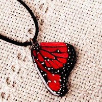 Butterfly wing necklace, Red jewelry, Butterfly jewelry, Wing necklace, Red pendant, Bug, Insect, Butterfly jewelry, Handmade jewelry, Red