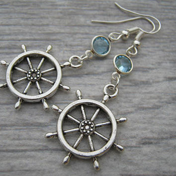 Ships Wheel Birthstone Earrings, Sailing Charm Earrings, Personalized Swarovski Crystal, Boat Beach Earrings, Sailor Gift,  READY To SHIP