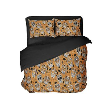 Orange Sugar Skulls Comforter Set Halloween Bedding from Extremely Stoked-comes with FREE Backpack Candy Bag!!!