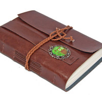 Light Brown Faux Leather Wrap Journal with Owl Cameo Bookmark  - Ready To Ship -