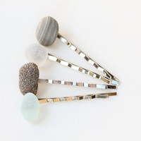 Sea Glass & Stone Bobbies - Free Shipping
