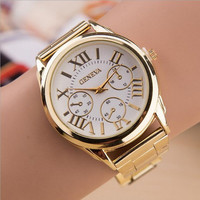 Hot Luxury Geneva Fashion Men Women Ladies Watches Gold Stailess Steel Roman Numerals Analog Quartz Wrist Watch