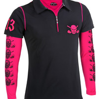Women's Hybrid Lucky 13 Golf Shirt & Performance Under Shirt (Black/Pink)