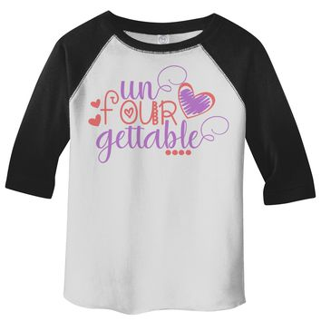 Shirts By Sarah Toddler Girl's 4th Birthday Shirt Adorable Unfourgettable Tee