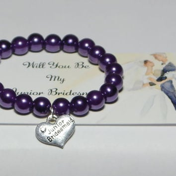 will you be my junior bridesmaid - be our bridesmaid - honorary bridesmaid - ask to be bridesmaid - jr bridesmaid - handmade bracelet