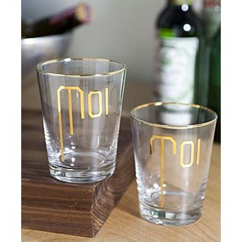 """Moi"" and ""Toi"" Highball Glass Set"