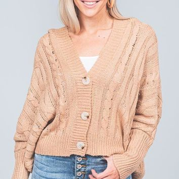 Camel Chunky Cable Knit Hooded Cardigan