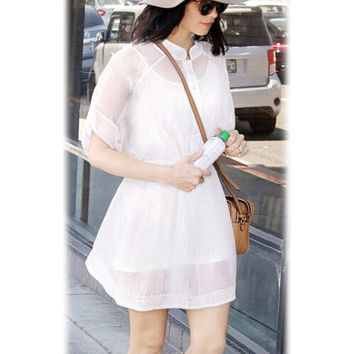 Bat Short Sleeve Bow Tie Chiffon Mini Skater Dress
