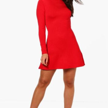 Isla High Neck Long Sleeved Swing Dress | Boohoo