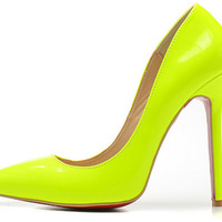 Glossy Red Bottom Pointed Toe Heels - Yellow