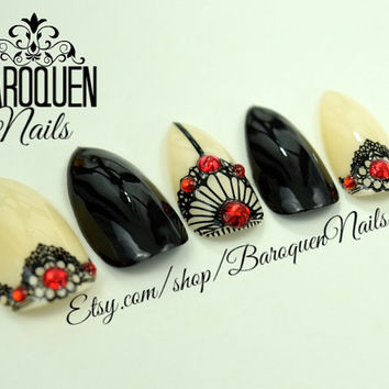 "Lace Nails Gothic Saloon Steampunk Nail Art ""Burlesque""Made To Order Any Shape Gel Fake Nails 