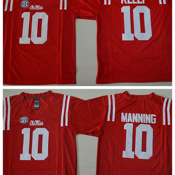 NCAA College Ole Miss Rebles Football Jerseys 10 Chad Kelly 10 Eli Manning Jersey Home Red Fashion Breathable All Stitching Best Quality