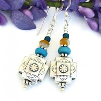 Southwest Cross Earrings, Pewter Turquoise Orange Handmade Jewelry