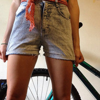 Acid-Washed, High-Waisted Shorts - 1