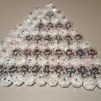 Lot of 87 glass stone .925 Ring and stud set in acrylic gift boxes