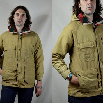 Vintage 70's Woolrich 60/40 Classic Tan Flannel Linned Mountaineer Anarak Parka Jacket