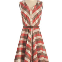 Myrtlewood Vintage Inspired, 50s, Scholastic Long Sleeveless A-line Plaid to See You Dress