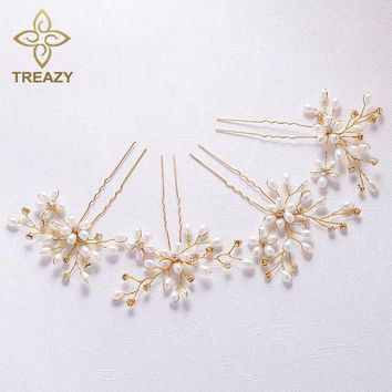 TREAZY 4Pcs/Lot Handmade Simulated Pearl Crystal Hairpins For Wedding Charm Floral Hair Pins Bridal Hair Jewelry Accessories