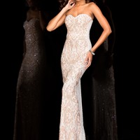 Scala 48594 Romantic Beaded Strapless Prom Gown