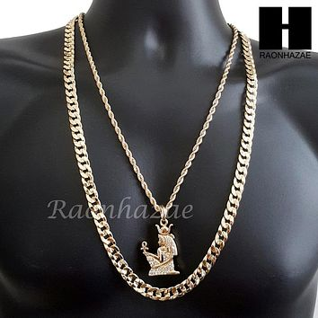 "MEN ICED OUT GOLD NEFERTITI ANKH CHARM CUT 30"" CUBAN LINK CHAIN NECKLACE S083G"