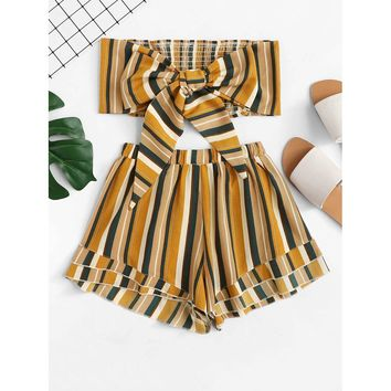 Knot Front Pleated Striped Tube Top With Shorts