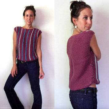 80's Jordache Purple Striped Sweater // Vintage Knit Vest