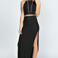 Black Sleeveless Midi Two Piece Dress