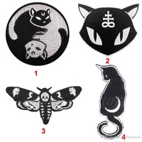 Satanic Black Cat Moon Halloween Witchcraft Evil Sew On Patch Iron Embroidered