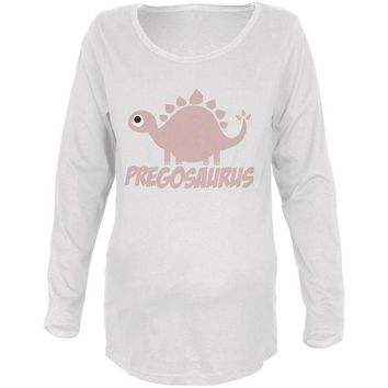 DCCKU3R Mother's Day Pregosaurus Funny Dinosaur Maternity Soft Long Sleeve T Shirt