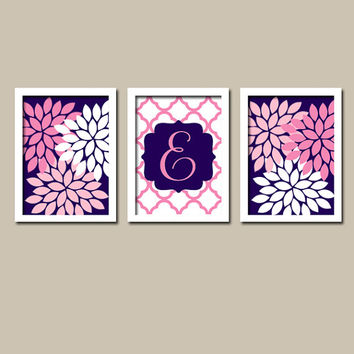 Navy Blue Hot Pink Monogram Flower Burst Letter Initial Set of 3 Trio Prints Chevron Wall Decor Abstract Art Bedroom Picture Nursery