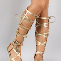 Women's Shoe Republic Metallic Elastic Back Gladiator Knee High Flat Sandal
