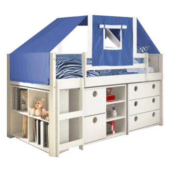 Branson Junior Loft Bed with Dressers and Blue Tent