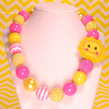 Sun Necklace pink and yellow Spring Chunky Necklace, Birthday Necklace, Easter Necklace, Chunky Bead Necklace, Girls Necklace