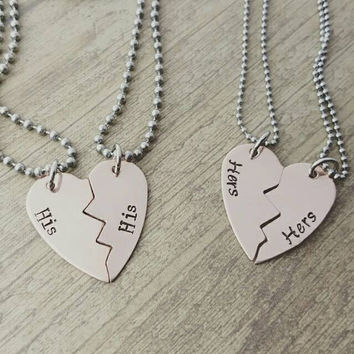 SALECopper broken heart his and his or hers and hers necklace set, lesbian gay jewelry, lgbt jewelry, couples jewelry by miss ashley jewelry