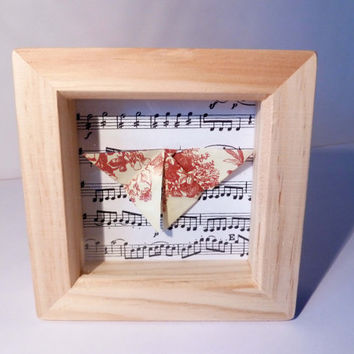 Vintage Floral Origami Butterfly Box Frame, Butterfly Box Frame, Origami Box Frame