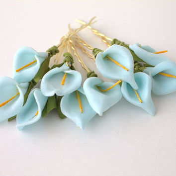 Set of 10 Blue Lily Floral Hair Clips Floral Hair Clips, Bridal Hair Accessories, Wedding Hair Accessories, White Paper Flower
