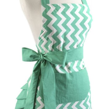 Women's Original Chevron Teal Bow Flirty Apron