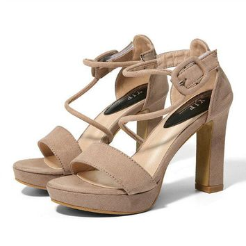 Solid Buckle Chunky Heel Peep Toe Strappy Sandals